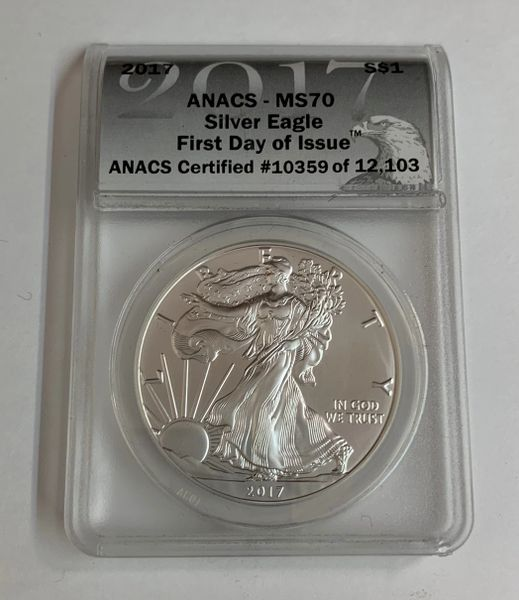 2017 First Day of Issue MS70 Silver Eagle ANACS