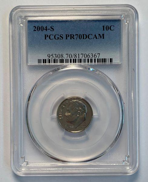 2004-S PR70 DCAM Roosevelt Dime PCGS