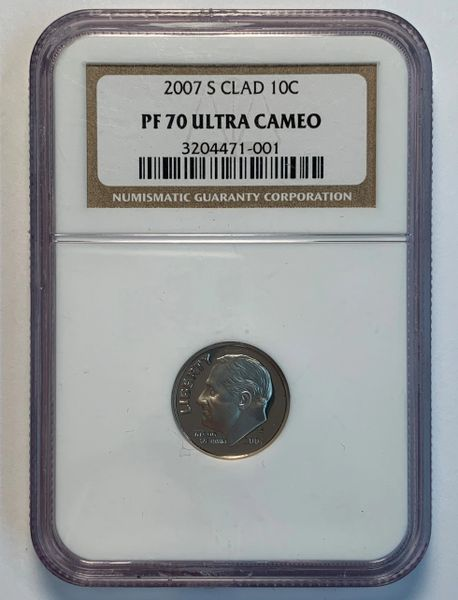 2007-S PF70 Ultra Cameo Roosevelt Dime NGC
