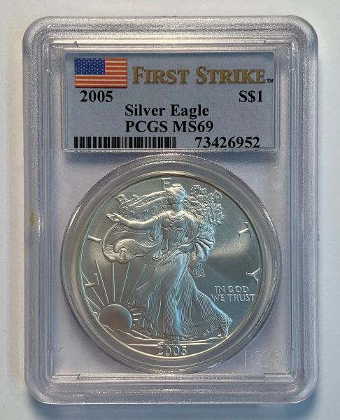 2005 MS69 First Strike Silver Eagle PCGS