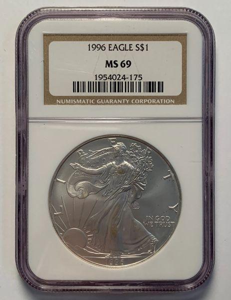 1996 Silver Eagle MS69 NGC