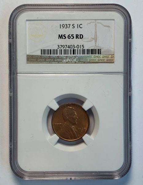 1937-S MS65 Lincoln Wheat Cent RD NGC