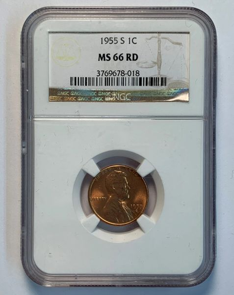1955-S MS66 RD Lincoln Wheat Cent NGC