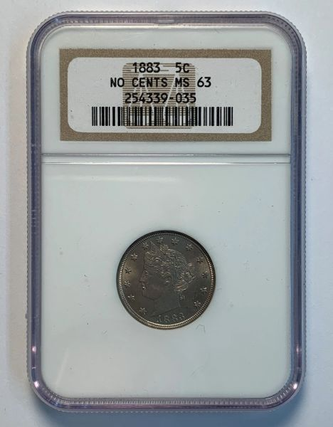 "1883 MS63 No Cents Liberty ""V"" Nickle NGC"