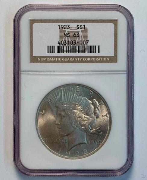 1923 MS63 Peace Dollar NGC