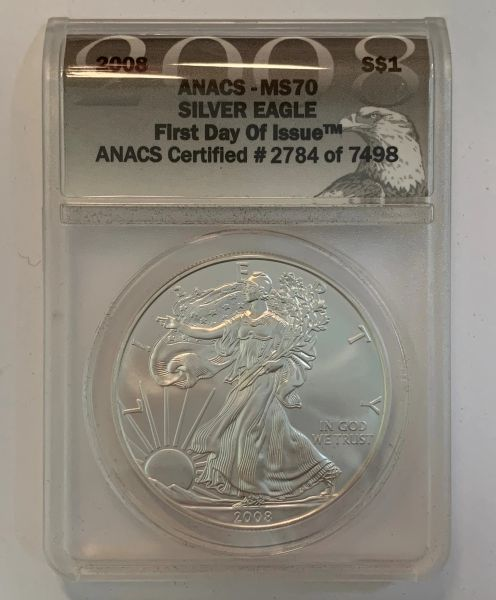 2008 MS70 First Day of Issue Silver Eagle ANACS