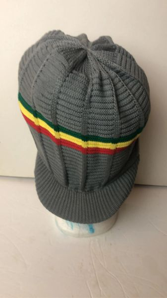 Happy 2B Nappy Gray Knitted Hat Trim with Red Gold & Green