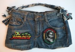H2BN Jeans Bag with Jamaica & Rasta Baby Patches