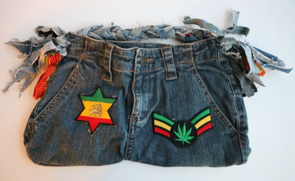 H2BN Ganja Leaf & Lion of Judah Star Rasta Jean Bag