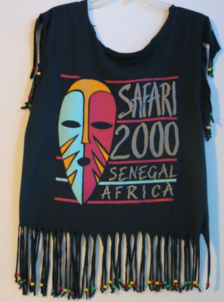 H2BN Ancient Ones Fringe Beaded Safari 2000 Senegal Africa T-Shirt