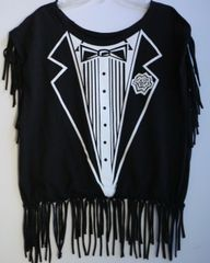 H2BN Ancient Ones Fringe Bow Tie Rose T-Shirt With Painting On The Back