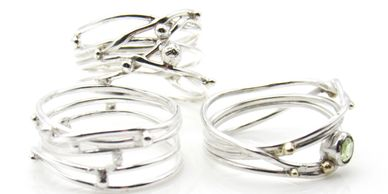 Handcrafted Sterling Silver and Two Tone or Mixed Metal Rings
