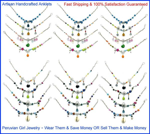20 GLASS ANKLETS PERUVIAN JEWELRY PERU ANKLE BRACELETS