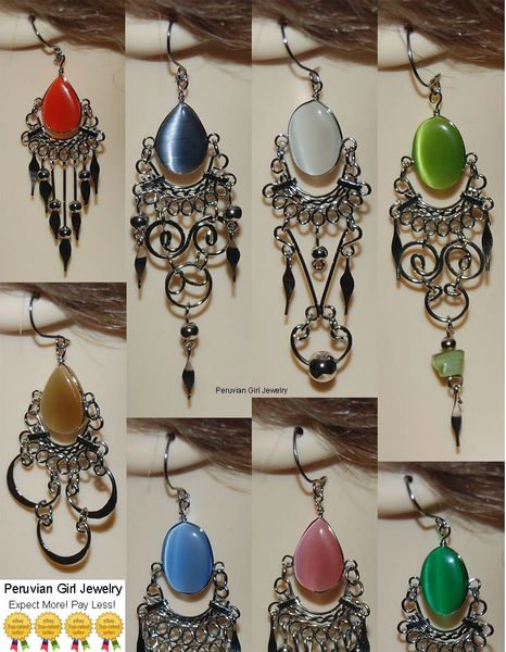 10 PAIRS CATS EYE BEAD EARRINGS PERUVIAN WHOLESALE