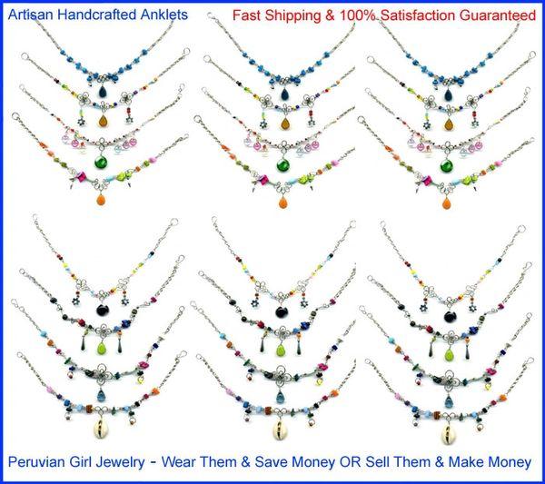 30 GLASS ANKLETS PERUVIAN JEWELRY PERU ANKLE BRACELETS