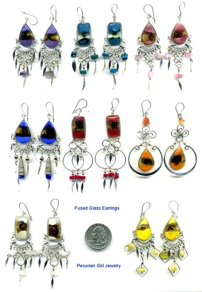 10 PAIRS FUSED GLASS EARRINGS PERUVIAN WHOLESALE
