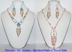 10 BAMBOO AND STONE JEWELRY SETS NECKLACES EARRINGS