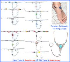 10 GLASS TOE RING ANKLETS FOOT CHAIN JEWELRY