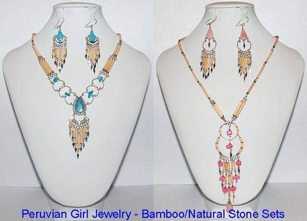20 BAMBOO AND STONE JEWELRY SETS NECKLACES EARRINGS