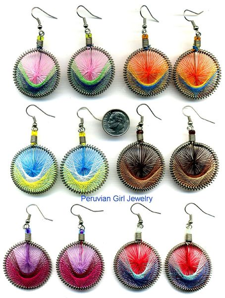 10 PAIRS WOVEN THREAD EARRINGS ROUND DESIGN