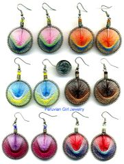 20 PAIRS WOVEN THREAD EARRINGS ROUND DESIGN