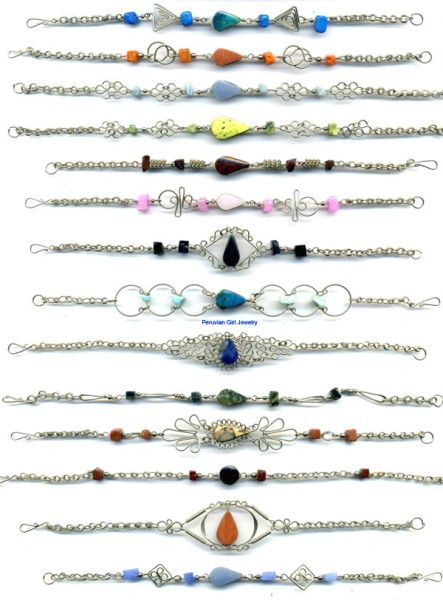 20 NATURAL STONE BRACELETS PERUVIAN WHOLESALE JEWELRY