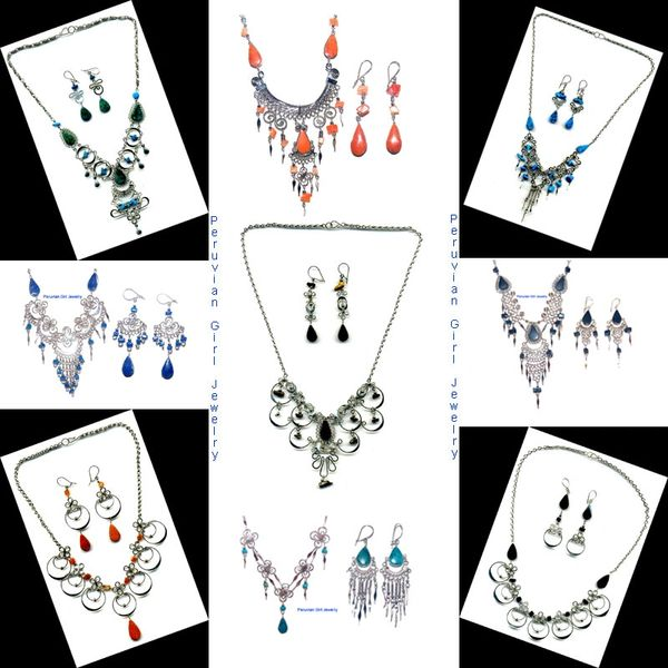 10 STONE SETS NECKLACES EARRINGS PERUVIAN JEWELRY