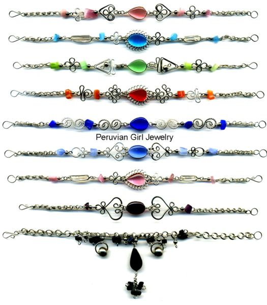 10 CATS EYE BEAD BRACELETS PERUVIAN WHOLESALE