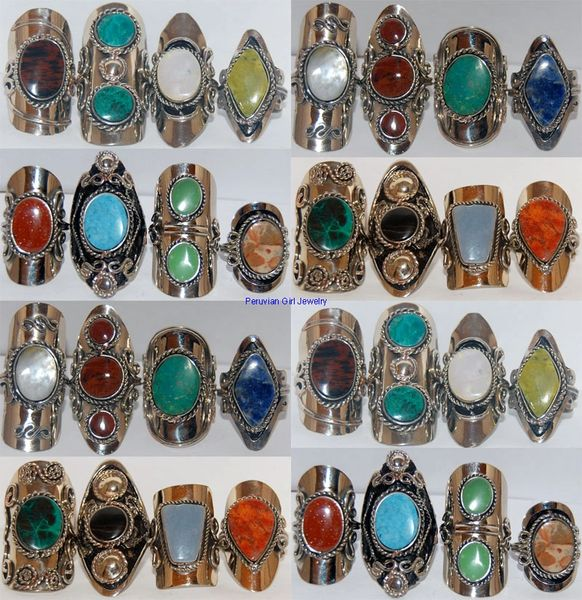 10 RINGS NATURAL STONE PERU ALPACA SILVER JEWELRY