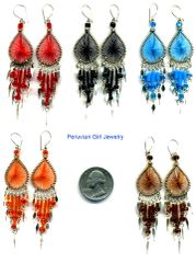 10 PAIRS WOVEN THREAD EARRINGS TEARDROP BEAD DESIGN