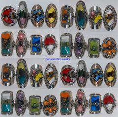 10 FUSED GLASS RINGS PERU WHOLESALE JEWELRY LOT