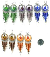 10 PAIRS WOVEN THREAD GLASS EARRINGS FULL MOON DESIGN