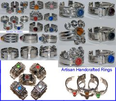 10 GLASS RINGS PERU WHOLESALE JEWELRY LOT
