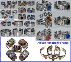 10 GLASS RINGS PERU WHOLESALE JEWELRY LOT