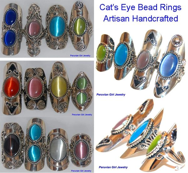 10 CATS EYE BEAD RINGS PERUVIAN JEWELRY WHOLESALE