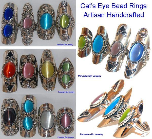10 CATS EYE BEAD RINGS PERUVIAN JEWELRY WHOLESALE