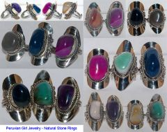 10 RINGS NATURAL STONE AGATE JEWELRY