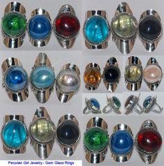 10 GEM GLASS RINGS PERUVIAN WHOLESALE JEWELRY