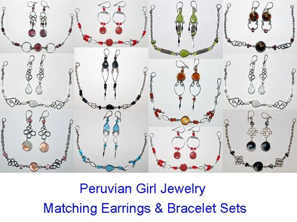10 GLASS SETS EARRINGS BRACELETS PERU WHOLESALE
