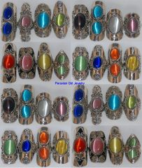 30 CATS EYE BEAD RINGS PERUVIAN JEWELRY WHOLESALE