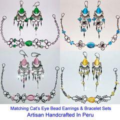 10 CAT'S EYE BEAD SETS EARRINGS BRACELETS PERU WHOLESALE
