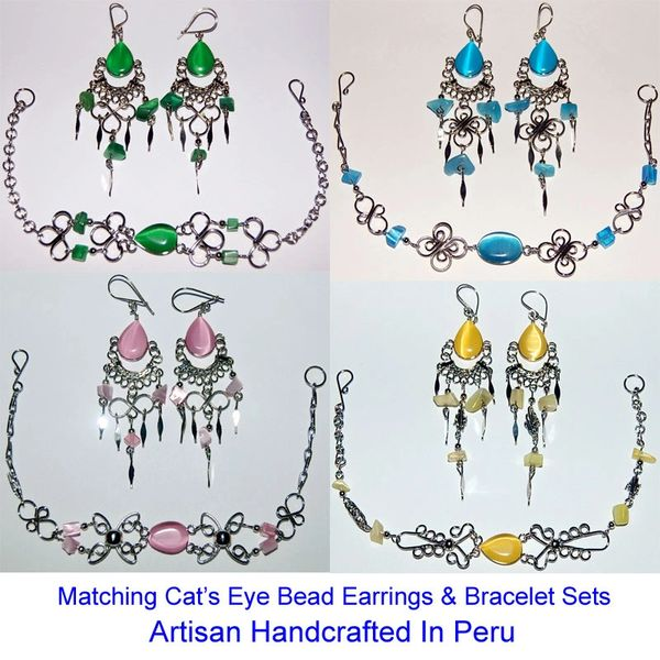 10 CAT'S EYE BEAD SETS EARRINGS BRACELETS PERU WHOLESALE
