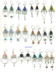 10 PAIRS NATURAL STONE EARRINGS HANDMADE IN PERU