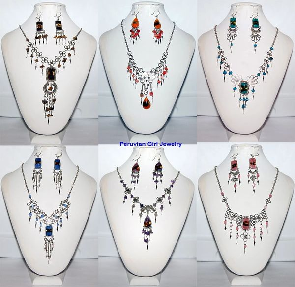 10 FUSED GLASS SETS NECKLACES EARRINGS PERUVIAN WHOLESALE