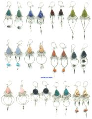 20 PAIRS NATURAL STONE EARRINGS HANDMADE IN PERU