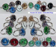10 SWIRL GLASS RINGS PERUVIAN WHOLESALE JEWELRY