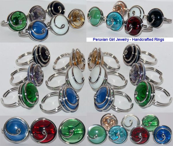 10 SWIRL GLASS RINGS PERUVIAN WHOLESALE JEWELRY