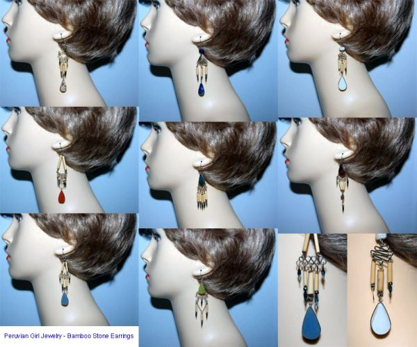 20 PAIRS BAMBOO STONE EARRINGS WHOLESALE
