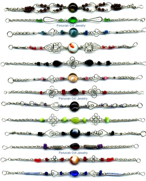 100 GLASS BRACELETS HANDMADE PERUVIAN WHOLESALE JEWELRY