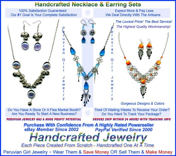 40 STONE GLASS SETS NECKLACES EARRINGS PERUVIAN JEWELRY